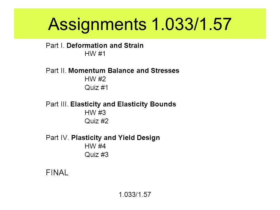 Assignments 1.033/1.57 Part I. Deformation and Strain HW #1 Part II.