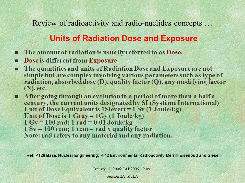 January 11, 2006: IAP 2006, 12.091 Session 2A: P. ILA Review of radioactivity and radio-nuclides concepts … Units of Radiation Dose and Exposure The a