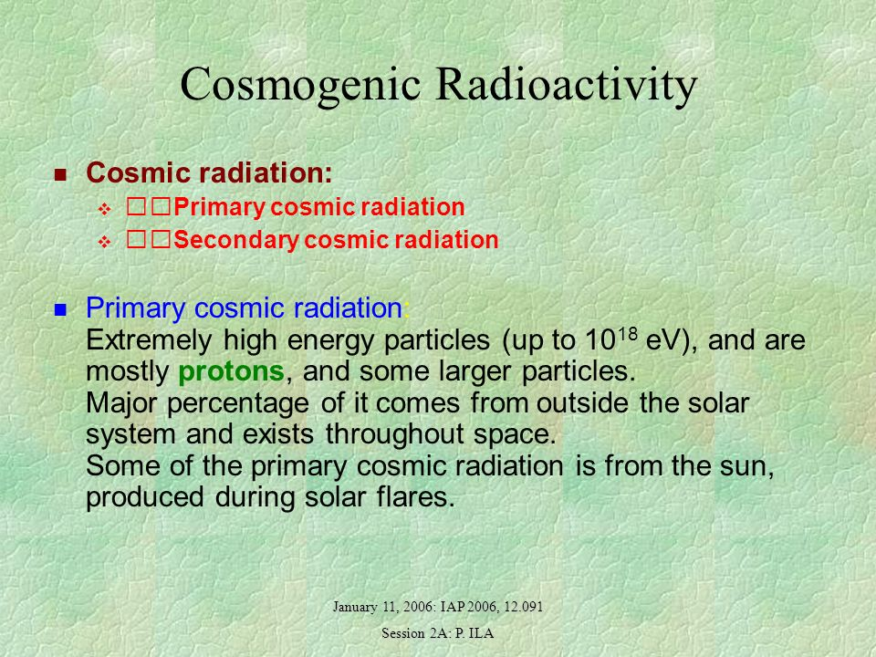 January 11, 2006: IAP 2006, 12.091 Session 2A: P. ILA Cosmogenic Radioactivity Cosmic radiation: Primary cosmic radiation Secondary cosmic radiation P
