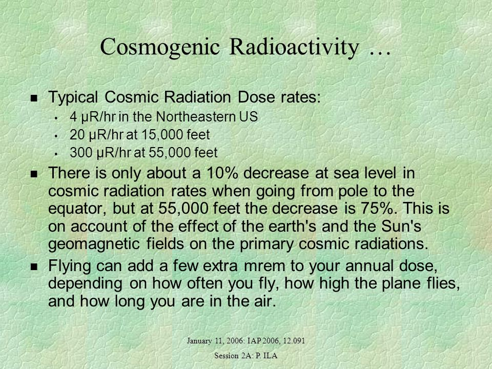 January 11, 2006: IAP 2006, 12.091 Session 2A: P. ILA Cosmogenic Radioactivity … Typical Cosmic Radiation Dose rates: 4 µR/hr in the Northeastern US 2