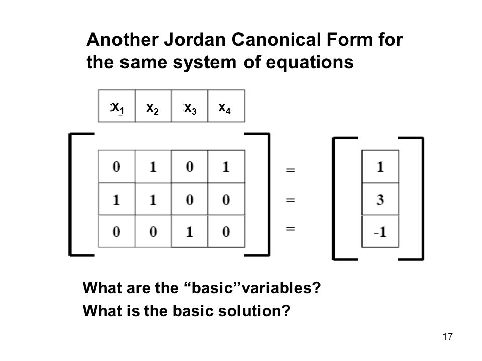 17 Another Jordan Canonical Form for the same system of equations x1x1 x2x2 x3x3 x4x4 What are the basicvariables.