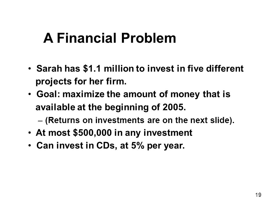 19 A Financial Problem Sarah has $1.1 million to invest in five different projects for her firm.