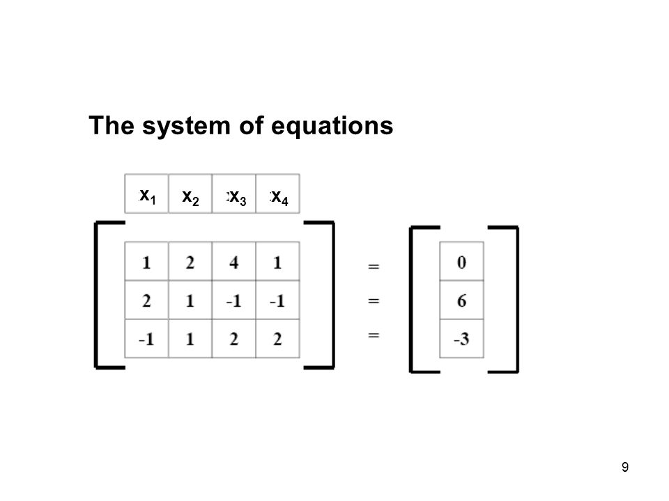 9 The system of equations x1x1 x2x2 x3x3 x4x4