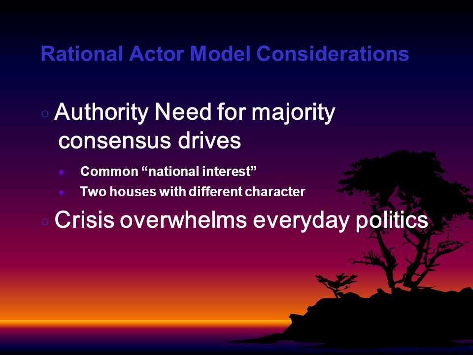 Rational Actor Model Considerations Authority Need for majority consensus drives Common national interest Two houses with different character Crisis overwhelms everyday politics