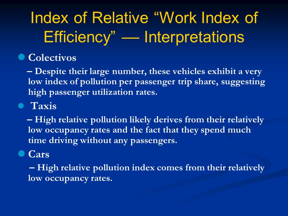Index of Relative Work Index of Efficiency –– Interpretations Colectivos – Despite their large number, these vehicles exhibit a very low index of pollution per passenger trip share, suggesting high passenger utilization rates.