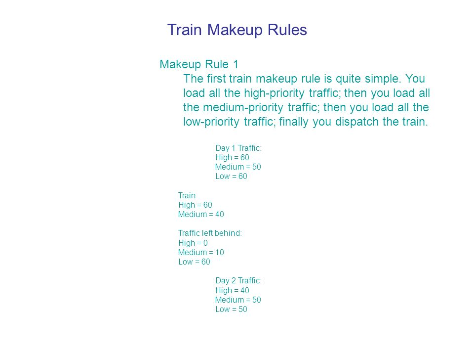 Train Makeup Rules Makeup Rule 1 The first train makeup rule is quite simple.