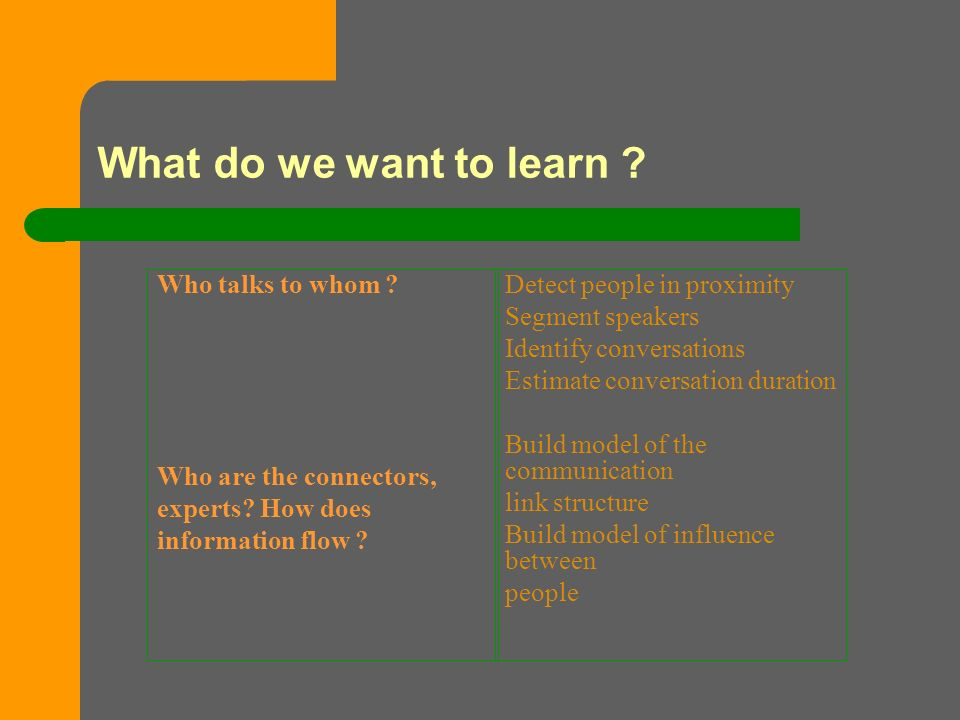 What do we want to learn . Who talks to whom . Who are the connectors, experts.