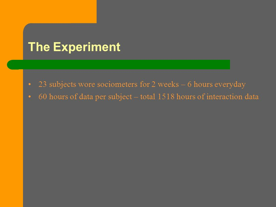 The Experiment 23 subjects wore sociometers for 2 weeks – 6 hours everyday 60 hours of data per subject – total 1518 hours of interaction data