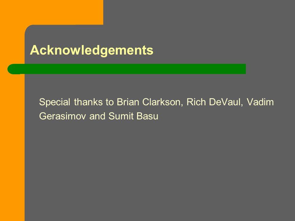 Acknowledgements Special thanks to Brian Clarkson, Rich DeVaul, Vadim Gerasimov and Sumit Basu