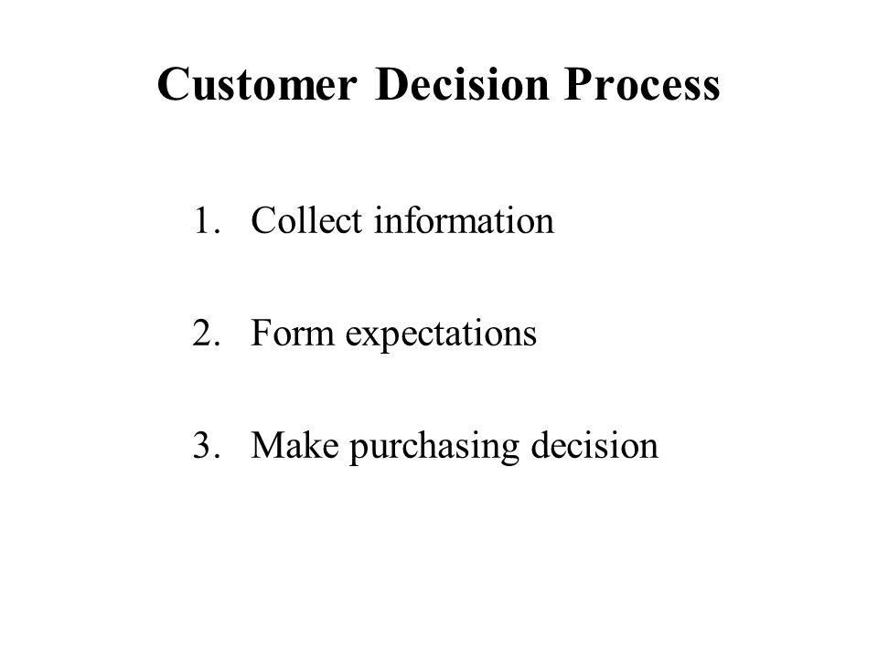 Customer Decision Process 1.Collect information 2.Form expectations 3.Make purchasing decision