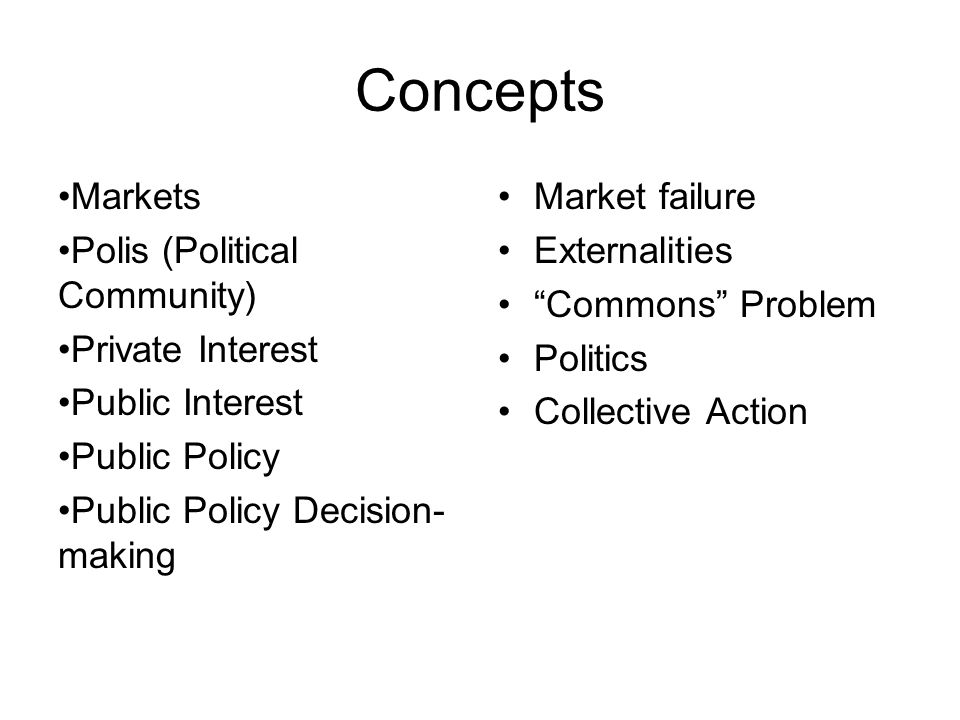 Concepts Markets Polis (Political Community) Private Interest Public Interest Public Policy Public Policy Decision- making Market failure Externalities Commons Problem Politics Collective Action