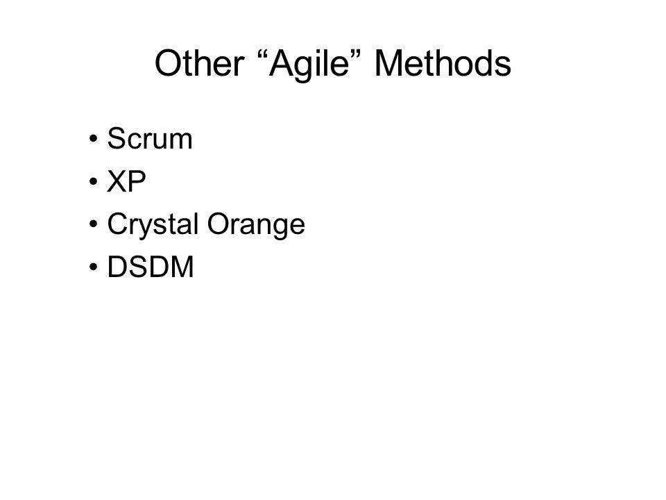 Other Agile Methods Scrum XP Crystal Orange DSDM