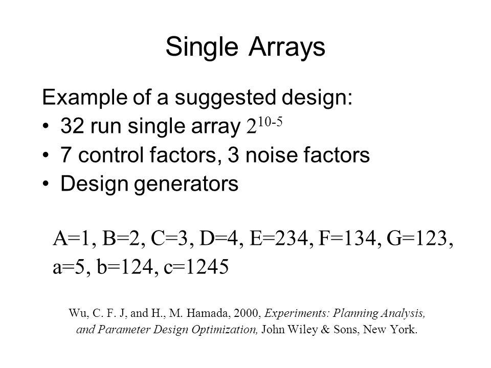 Single Arrays Example of a suggested design: 32 run single array 2 10-5 7 control factors, 3 noise factors Design generators A=1, B=2, C=3, D=4, E=234