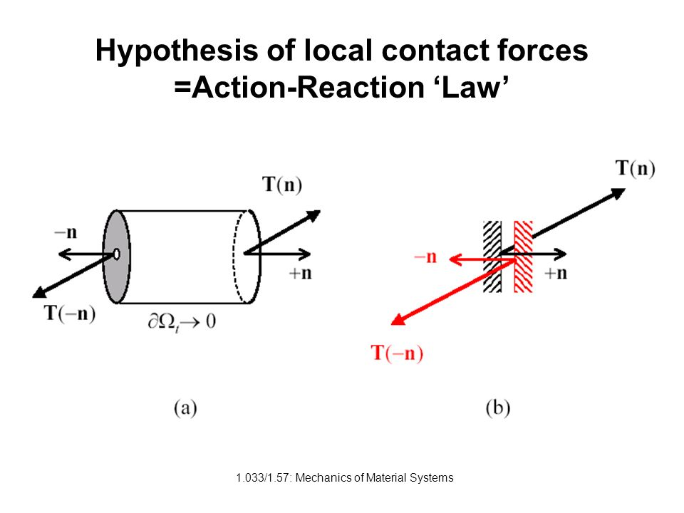 1.033/1.57: Mechanics of Material Systems Hypothesis of local contact forces =Action-Reaction Law