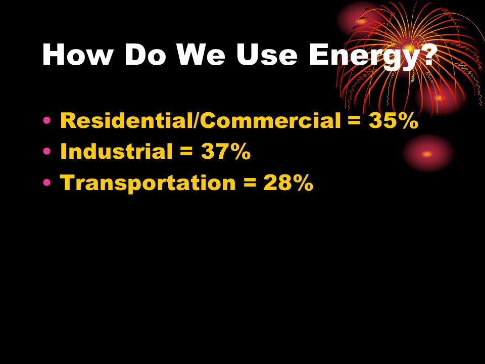 How Do We Use Energy Residential/Commercial = 35% Industrial = 37% Transportation = 28%
