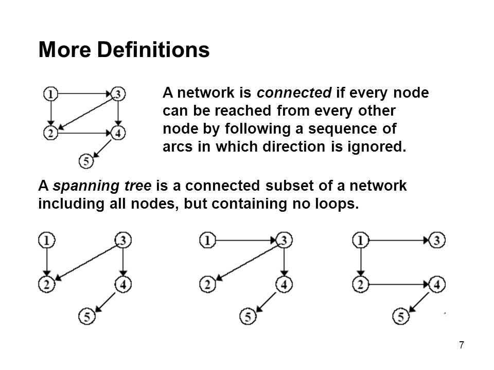 7 More Definitions A network is connected if every node can be reached from every other node by following a sequence of arcs in which direction is ign