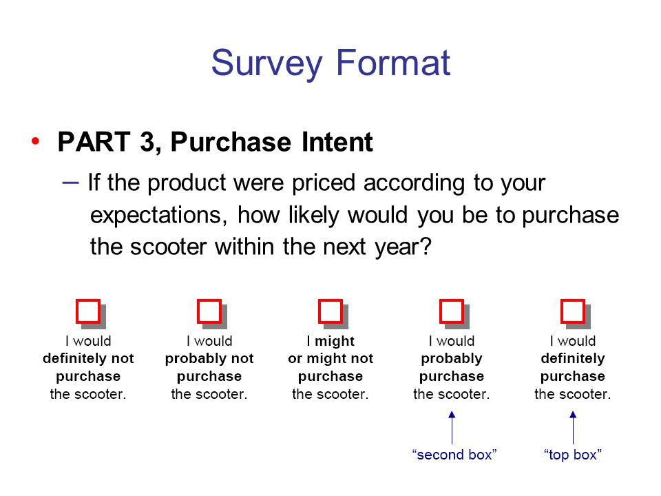 Survey Format PART 3, Purchase Intent – If the product were priced according to your expectations, how likely would you be to purchase the scooter wit