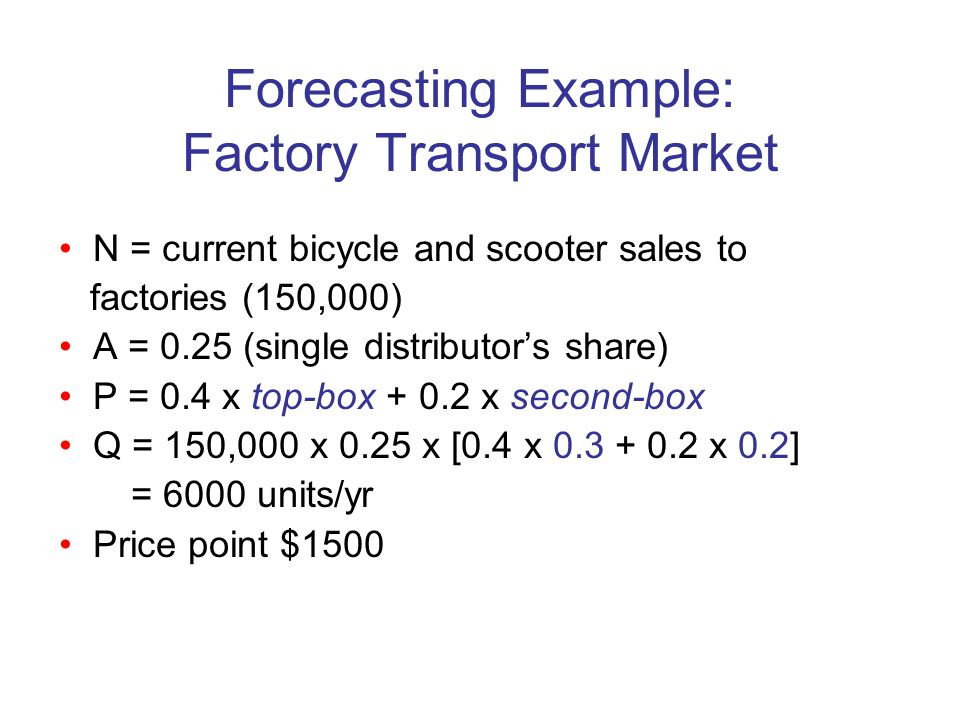 Forecasting Example: Factory Transport Market N = current bicycle and scooter sales to factories (150,000) A = 0.25 (single distributors share) P = 0.