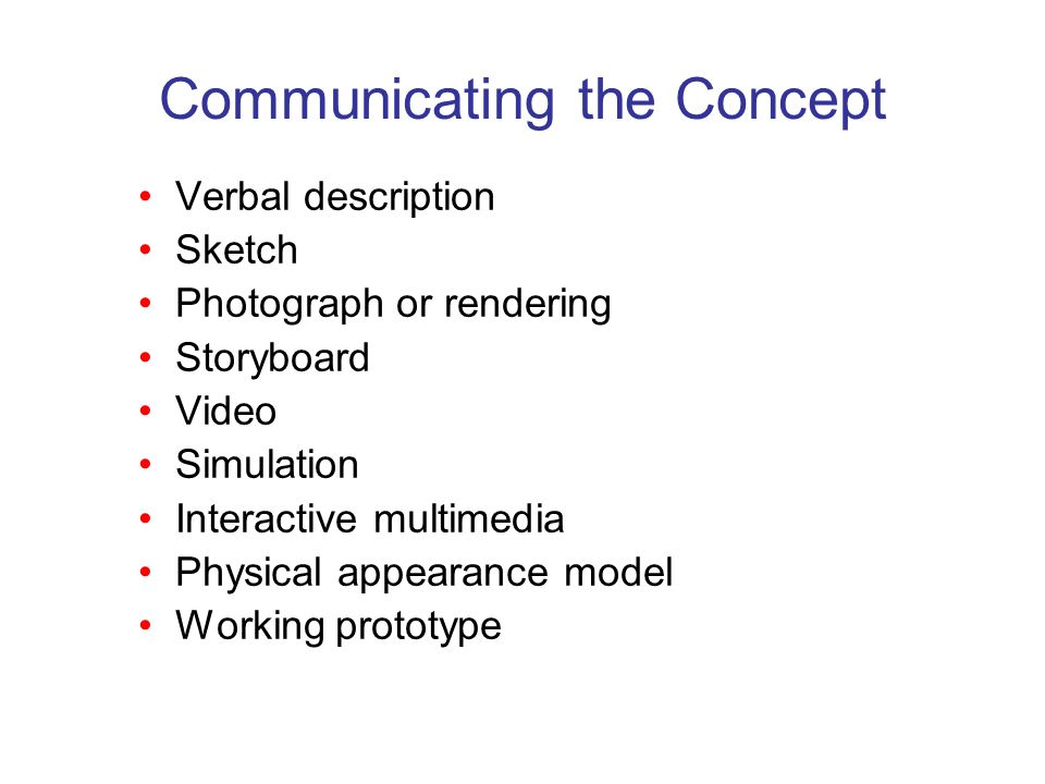 Communicating the Concept Verbal description Sketch Photograph or rendering Storyboard Video Simulation Interactive multimedia Physical appearance mod