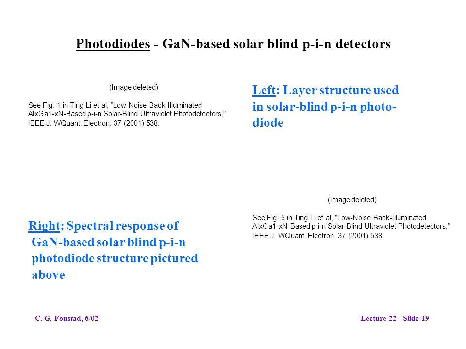 Photodiodes - GaN-based solar blind p-i-n detectors (Image deleted) See Fig. 1 in Ting Li et al,