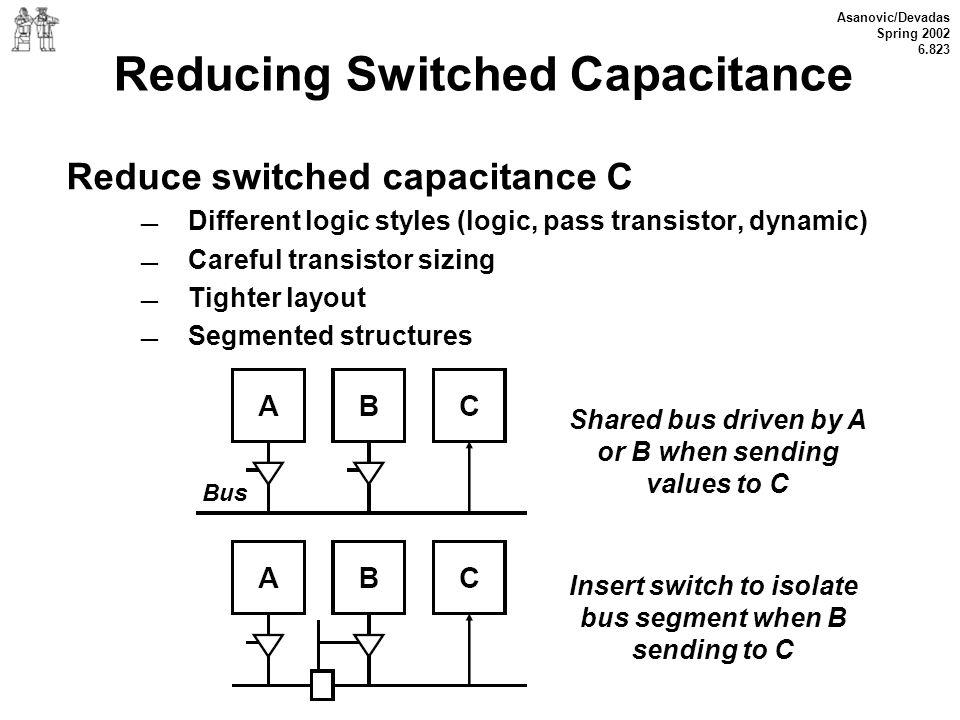 Asanovic/Devadas Spring 2002 6.823 Reducing Switched Capacitance Reduce switched capacitance C Different logic styles (logic, pass transistor, dynamic