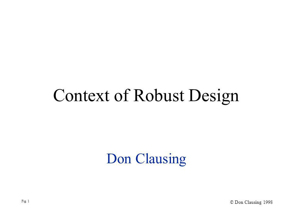 Context of Robust Design Don Clausing Fig. 1 © Don Clausing 1998