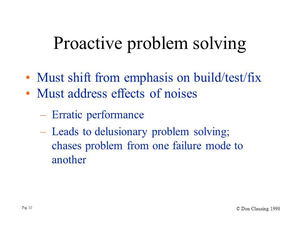 Proactive problem solving Must shift from emphasis on build/test/fix Must address effects of noises – Erratic performance – Leads to delusionary problem solving; chases problem from one failure mode to another Fig.