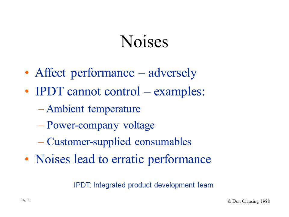 Noises Affect performance – adversely IPDT cannot control – examples: – Ambient temperature – Power-company voltage – Customer-supplied consumables Noises lead to erratic performance IPDT: Integrated product development team Fig.