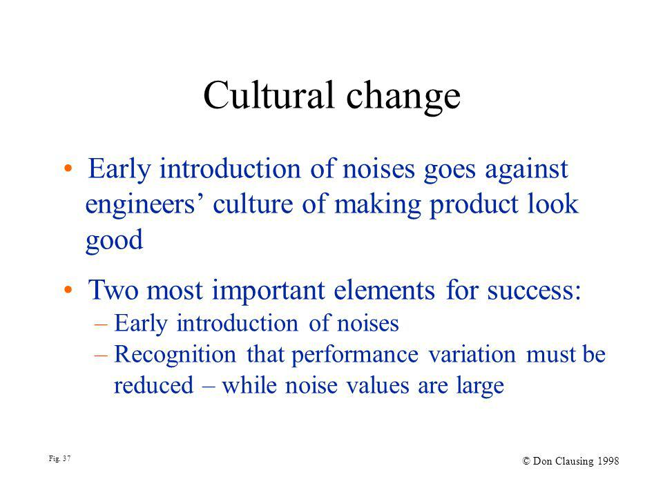Fig. 37 © Don Clausing 1998 Early introduction of noises goes against engineers culture of making product look good Two most important elements for su
