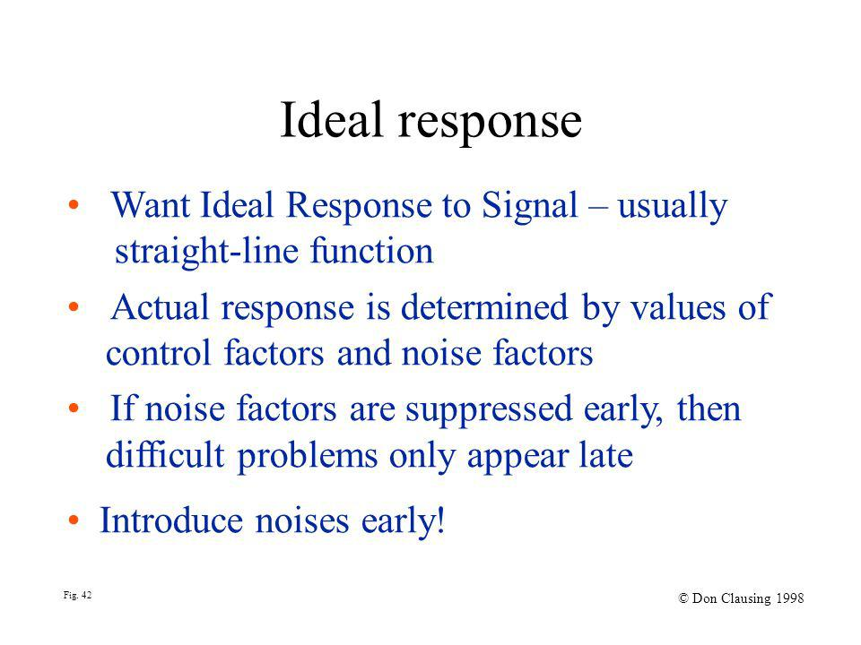 Ideal response Want Ideal Response to Signal – usually straight-line function Actual response is determined by values of control factors and noise factors If noise factors are suppressed early, then difficult problems only appear late Introduce noises early.