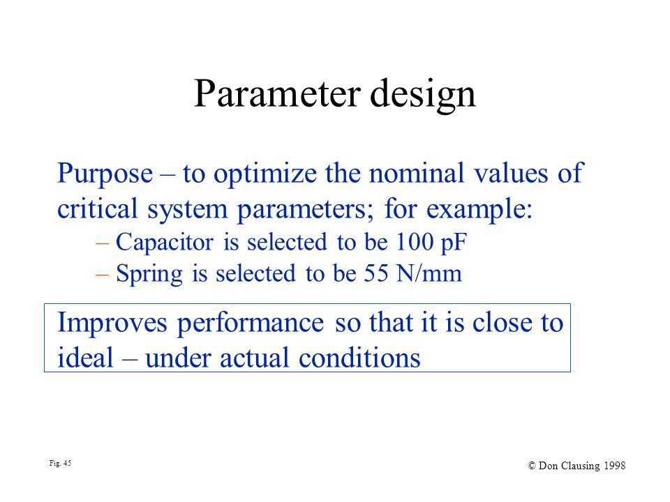 Fig. 45 © Don Clausing 1998 Purpose – to optimize the nominal values of critical system parameters; for example: – Capacitor is selected to be 100 pF