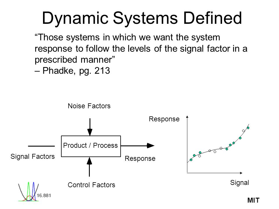 MIT Dynamic Systems Defined Those systems in which we want the system response to follow the levels of the signal factor in a prescribed manner – Phad