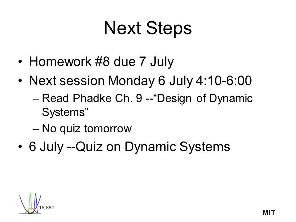 MIT Next Steps Homework #8 due 7 July Next session Monday 6 July 4:10-6:00 –Read Phadke Ch. 9 --Design of Dynamic Systems –No quiz tomorrow 6 July --Q