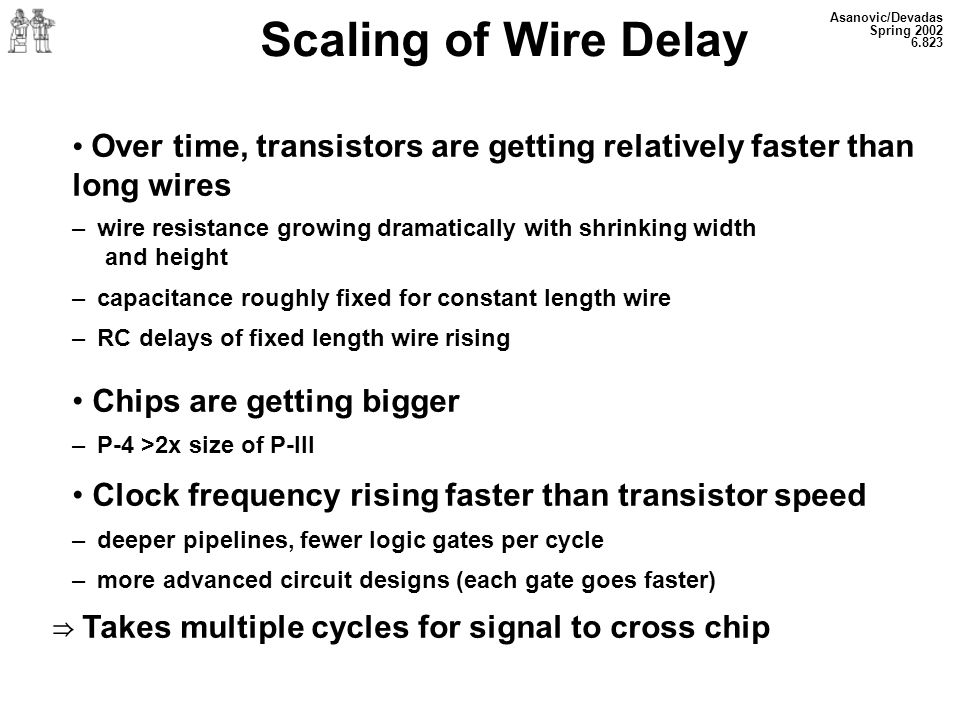 Asanovic/Devadas Spring 2002 6.823 Scaling of Wire Delay Over time, transistors are getting relatively faster than long wires – wire resistance growin