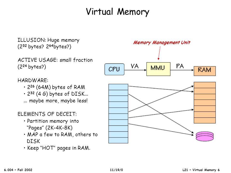 Virtual Memory 6.004 – Fall 2002 11/19/0 L21 – Virtual Memory 6 ILLUSION: Huge memory (2 32 bytes.