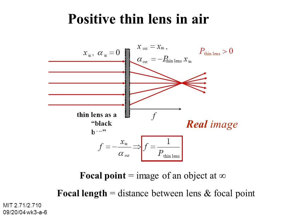 MIT 2.71/2.710 09/20/04 wk3-a-6 Positive thin lens in air in out in thin lens thin lens as a black box Real image in out thin lens Focal point = image of an object at Focal length = distance between lens & focal point