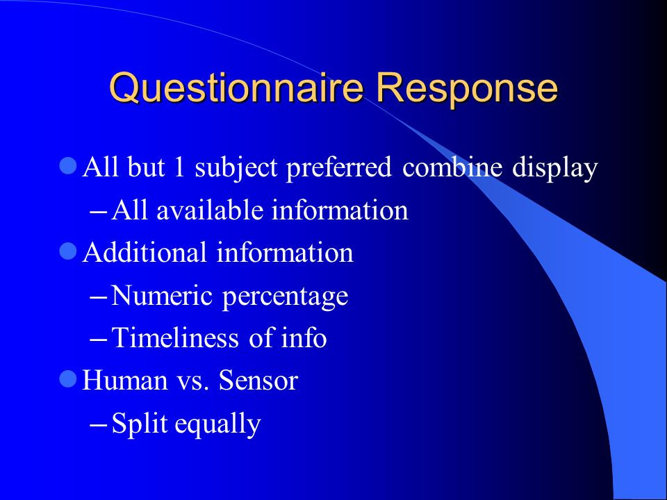 Questionnaire Response All but 1 subject preferred combine display All available information Additional information Numeric percentage Timeliness of info Human vs.