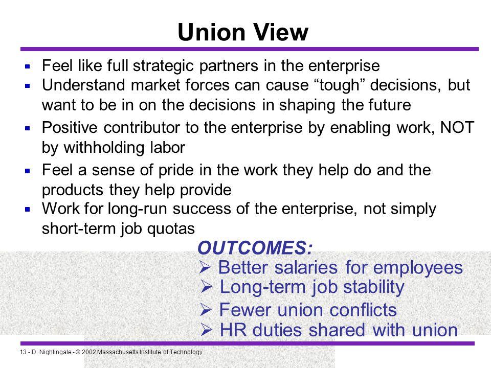 13 - D. Nightingale - © 2002 Massachusetts Institute of Technology Union View Feel like full strategic partners in the enterprise Understand market fo