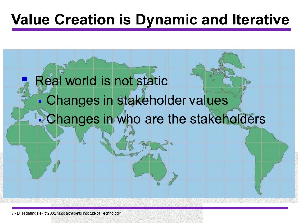7 - D. Nightingale - © 2002 Massachusetts Institute of Technology Value Creation is Dynamic and Iterative Real world is not static Changes in stakehol