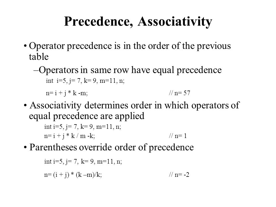 Precedence, Associativity Operator precedence is in the order of the previous table –Operators in same row have equal precedence int i=5, j= 7, k= 9, m=11, n; n= i + j * k -m; // n= 57 Associativity determines order in which operators of equal precedence are applied int i=5, j= 7, k= 9, m=11, n; n= i + j * k / m -k; // n= 1 Parentheses override order of precedence int i=5, j= 7, k= 9, m=11, n; n= (i + j) * (k –m)/k; // n= -2