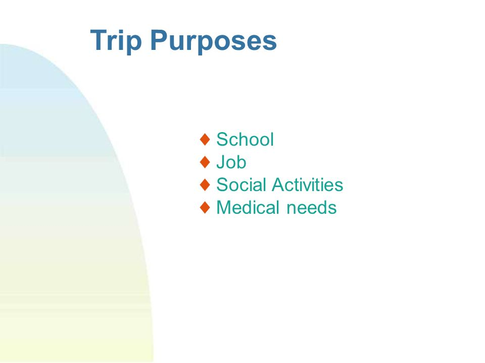 Trip Purposes School Job Social Activities Medical needs