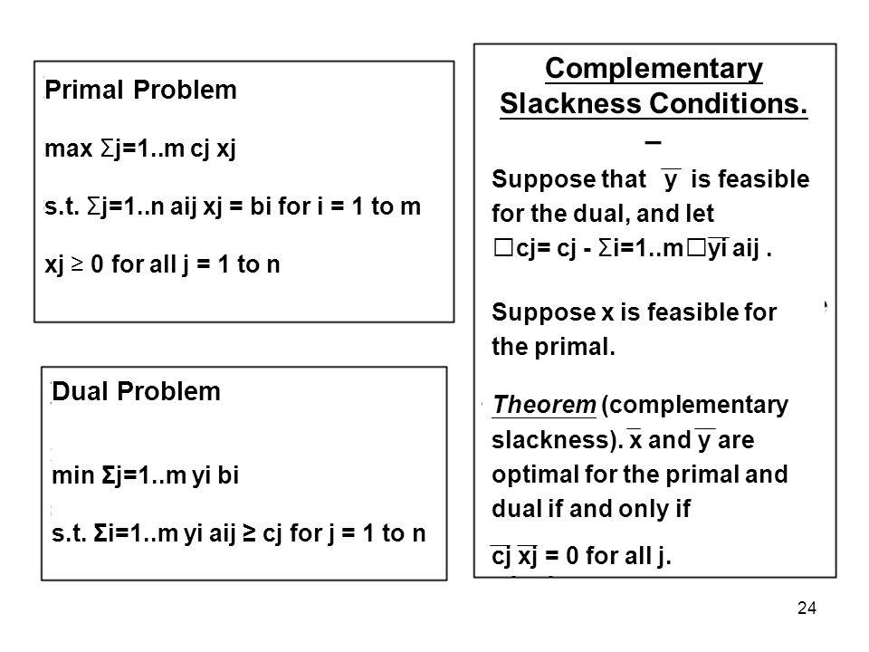 24 Primal Problem max Σj=1..m cj xj s.t.