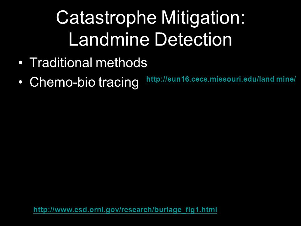 Catastrophe Mitigation: Landmine Detection Traditional methods Chemo-bio tracing http://sun16.cecs.missouri.edu/land mine/ http://www.esd.ornl.gov/research/burlage_fig1.html