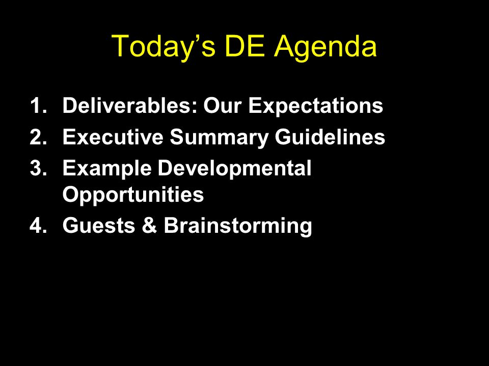 Todays DE Agenda 1.Deliverables: Our Expectations 2.Executive Summary Guidelines 3.Example Developmental Opportunities 4.Guests & Brainstorming