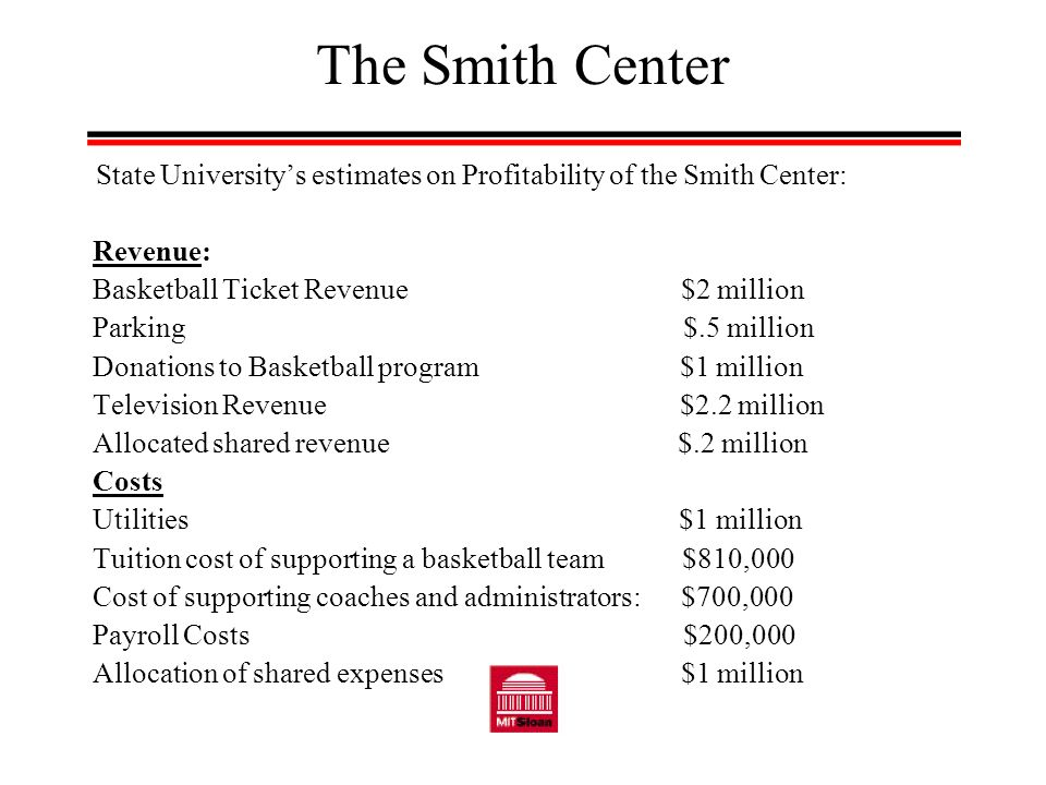 The Smith Center State Universitys estimates on Profitability of the Smith Center: Revenue: Basketball Ticket Revenue $2 million Parking $.5 million Donations to Basketball program $1 million Television Revenue $2.2 million Allocated shared revenue $.2 million Costs Utilities $1 million Tuition cost of supporting a basketball team $810,000 Cost of supporting coaches and administrators: $700,000 Payroll Costs $200,000 Allocation of shared expenses $1 million
