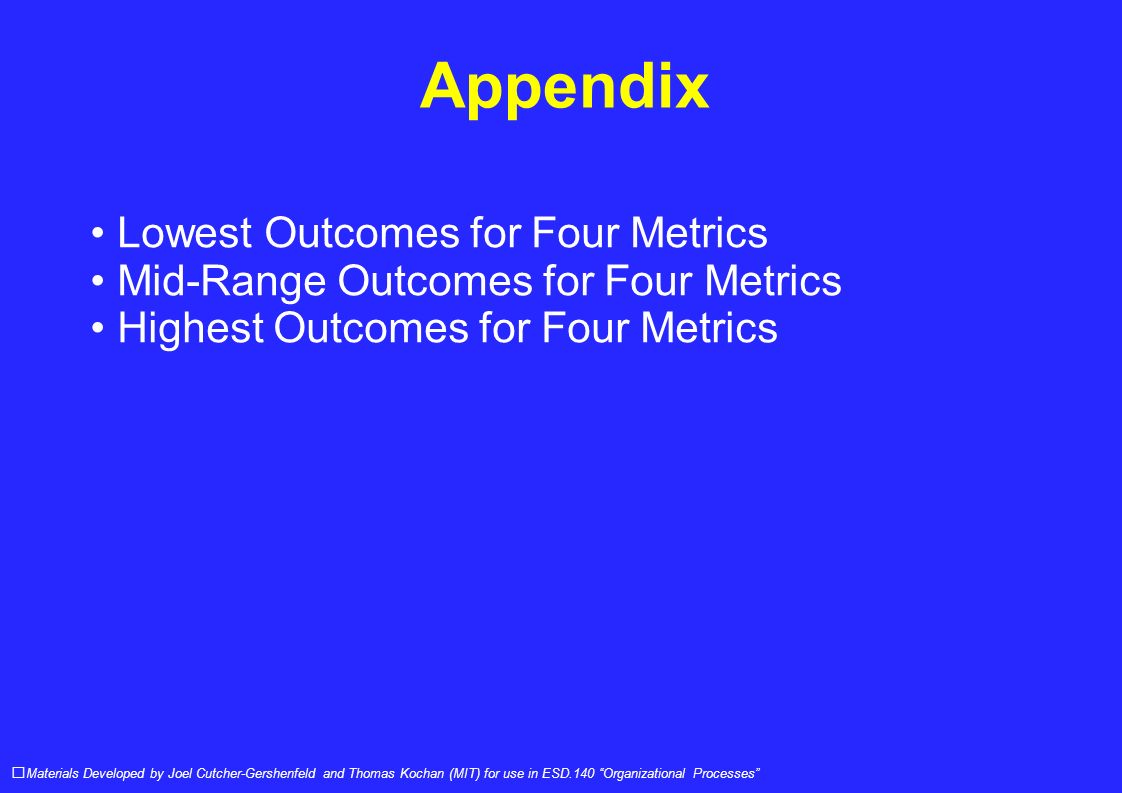 Appendix Materials Developed by Joel Cutcher-Gershenfeld and Thomas Kochan (MIT) for use in ESD.140 Organizational Processes Lowest Outcomes for Four Metrics Mid-Range Outcomes for Four Metrics Highest Outcomes for Four Metrics