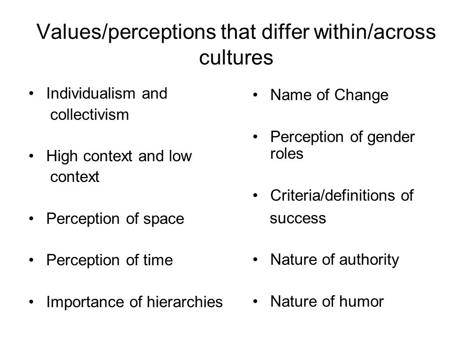 Values/perceptions that differ within/across cultures Individualism and collectivism High context and low context Perception of space Perception of time Importance of hierarchies Name of Change Perception of gender roles Criteria/definitions of success Nature of authority Nature of humor