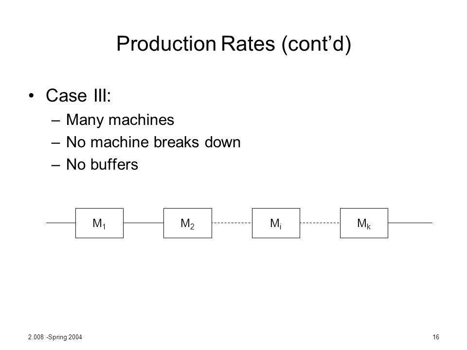 2.008 -Spring 200416 Production Rates (contd) Case III: –Many machines –No machine breaks down –No buffers M1M1 M2M2 MiMi MkMk