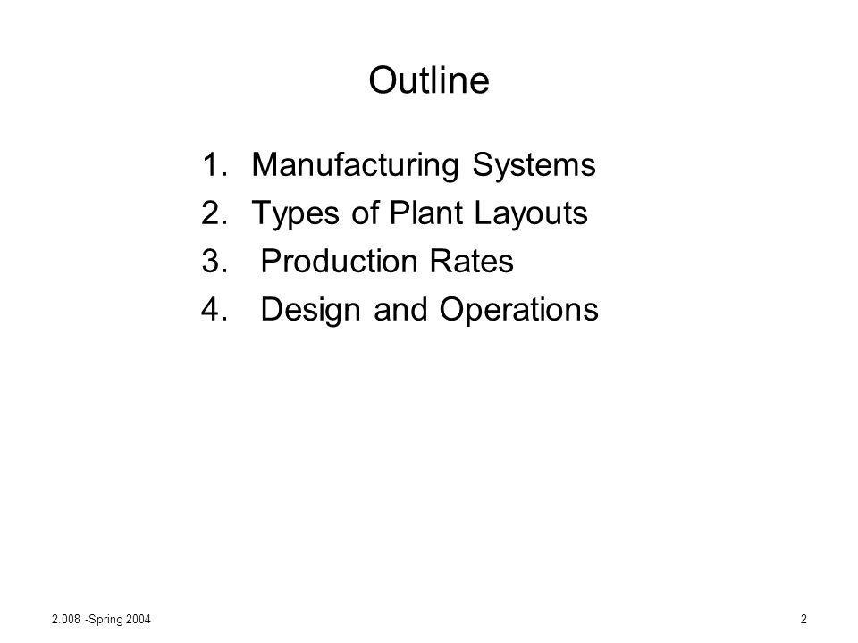 2.008 -Spring 20042 Outline 1.Manufacturing Systems 2.Types of Plant Layouts 3. Production Rates 4. Design and Operations