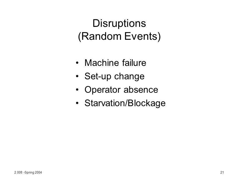2.008 -Spring 200421 Disruptions (Random Events) Machine failure Set-up change Operator absence Starvation/Blockage